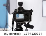professional camera on tripod... | Shutterstock . vector #1179120334