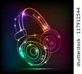 vector neon headphones  grunge... | Shutterstock .eps vector #117912544