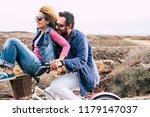 happy adult caucasian  couple... | Shutterstock . vector #1179147037