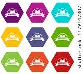 emblem fortress icons 9 set...   Shutterstock .eps vector #1179147307