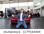 excited man happy because of... | Shutterstock . vector #1179164404