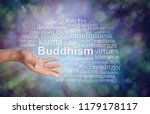 buddhism word tag cloud   male... | Shutterstock . vector #1179178117