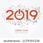 new year concept. two thousand... | Shutterstock .eps vector #1179191134