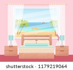 hotel room with ocean sea... | Shutterstock .eps vector #1179219064
