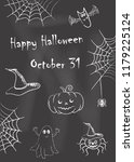happy halloween. chalk drawings ...   Shutterstock .eps vector #1179225124
