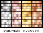 collection of silver  chrome ... | Shutterstock .eps vector #1179229141