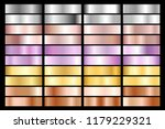 collection of silver  chrome ... | Shutterstock .eps vector #1179229321