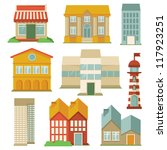 vector set with buildings icons ... | Shutterstock .eps vector #117923251