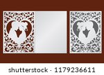 Laser cut template of wedding invitation with bride and groom in the heart frame. Fold card with openwork vector silhouette. Couple in love in lace decor panel. Faces in profile at Valentine's day.