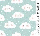 cute cartoon face cloud... | Shutterstock .eps vector #1179240214
