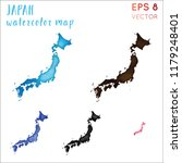 japan watercolor country map....   Shutterstock .eps vector #1179248401