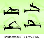 pilates exercise on reformer | Shutterstock .eps vector #117926437