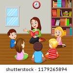 teacher telling a story to kids ... | Shutterstock .eps vector #1179265894