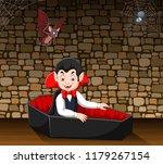 cartoon happy vampire in his... | Shutterstock .eps vector #1179267154