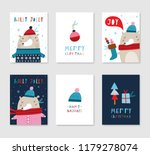 collection of 6 christmas card... | Shutterstock .eps vector #1179278074