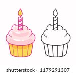 cartoon cupcake drawing with... | Shutterstock .eps vector #1179291307