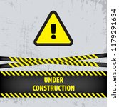 under construction sign on gray ... | Shutterstock .eps vector #1179291634