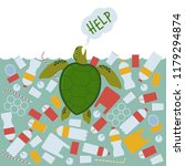 a sea turtle asks for help... | Shutterstock .eps vector #1179294874