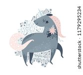 cute unicorn with lettering... | Shutterstock .eps vector #1179295234