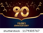 90th anniversary gold numbers.... | Shutterstock .eps vector #1179305767