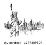 new york hand drawn sketch.... | Shutterstock .eps vector #1179309904