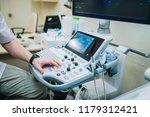 doctor using ultrasound machine ... | Shutterstock . vector #1179312421