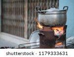 big metal pot on brazier for...   Shutterstock . vector #1179333631