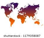 gradient world map on white... | Shutterstock . vector #1179358087