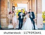 newlywed couple  bridesmaids  ...   Shutterstock . vector #1179392641