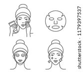 how to use a sheet mask  steps. | Shutterstock .eps vector #1179397537