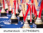 pedestal with cups and prizes...   Shutterstock . vector #1179408691