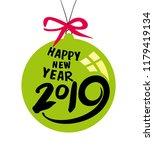 green christmas ball by 2019...   Shutterstock .eps vector #1179419134