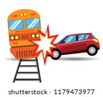the car hit the train isolated... | Shutterstock .eps vector #1179473977
