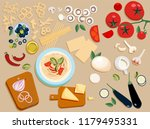 flat pasta ingredients set... | Shutterstock .eps vector #1179495331