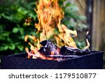 brazier with fire and coal for... | Shutterstock . vector #1179510877