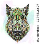 patterned head of boar. pig.... | Shutterstock .eps vector #1179516607