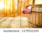 autumn wooden table with a... | Shutterstock . vector #1179521254