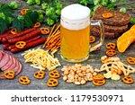 oktoberfest food menu. sausages ...   Shutterstock . vector #1179530971