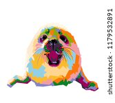 baby seal illustration. pop art ... | Shutterstock .eps vector #1179532891