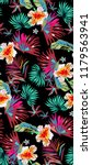tropical pattern with neon palm ... | Shutterstock .eps vector #1179563941