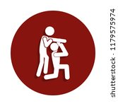 reception in judo icon in badge ...