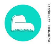 piano icon in badge style. one...