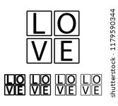 cubes with text love icon in...