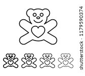 teddy bear with heart icon in...