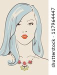 beautiful woman with jewelry... | Shutterstock .eps vector #117964447