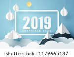 paper art of 2019 happy new... | Shutterstock .eps vector #1179665137