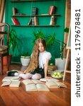 a sweet schoolgirl of junior... | Shutterstock . vector #1179678481