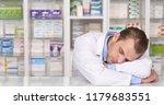 overworked pharmacist...   Shutterstock . vector #1179683551