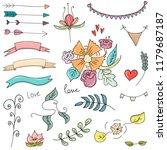 set. hand drawing. wedding....   Shutterstock .eps vector #1179687187