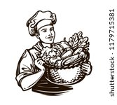 cook with a full basket of... | Shutterstock .eps vector #1179715381